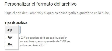 google takeout archivos